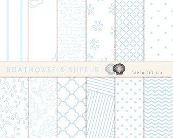 "LIGHTBLUE PURE & SIMPLE Papers, 12 Digital Papers, Digital Scrapbook Paper Pack (12"" x 12"", 300 dpi, jpg) - Download - Printable - 214"
