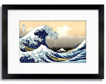 Katsushika Hokusai The Great Wave of Kanagawa  - Mounted & Framed Print