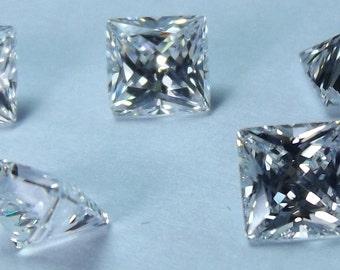 5pcs. White Russian cubic zirconia loose Square princess cut 5x5mm.