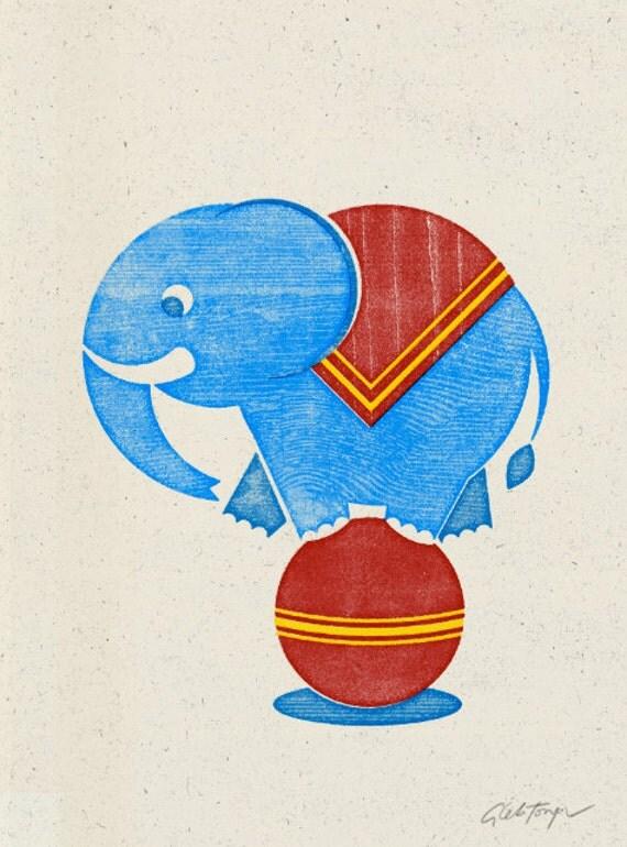 Circus Elephant Woodblock Print, Wall Art, Home Decor