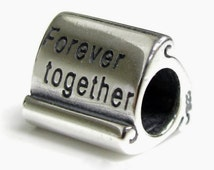 925 Antique sterling silver forever together charm/Fits Pandora,Troll,Chamilia,Biagi and most European charm bracelets-European charms