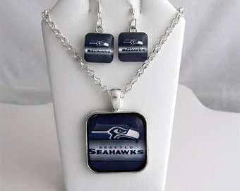 Seattle Seahawks NFL Inspired Handmade Necklace with Silver Glass Pendant and Earring Set