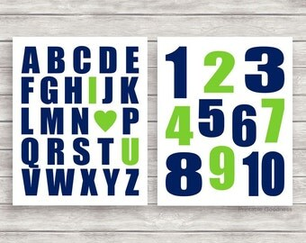 Alphabet and Number Prints, Printable Nursery Art, Baby Boy Room Décor, ABC 123 Playroom Wall Art, Navy and Lime Green, ABC I Love You