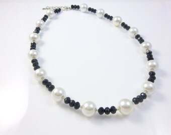 Black and White Necklace, Black Crystal Necklace, White Pearl Necklace, Wedding Jewelry