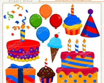 Colorful Birthday Clipart Set - For Commercial and Personal Use Cliparts