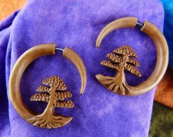 Fake Stretch Earrings Bonsai Tree  - Wood Bonsai Earring Fake Gauge Plugs  - Wood Fake Stretch Ear - Tree of Life Fake Tapers *A038