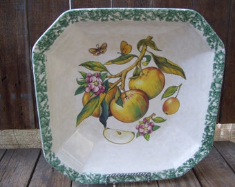 Large Octagon Made in Italy Deep Serving Bowl Fruit Design