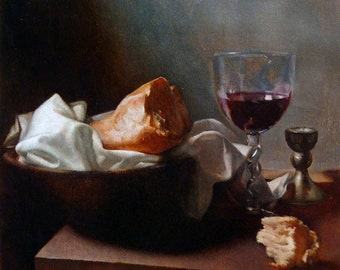 Bread and Wine.  Original oil painting on Linen.  11.5 x 12 inches