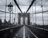 Resolute, Brooklyn Bridge, Brooklyn, New York City, New York, Black and White, East River - Travel Photography, Print, Wall Art