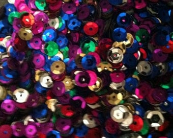 1500 15g Cupped Sequins. Rainbow Mix of Colours 6-7mm Ideal for sewing, embroidery, confetti, embellishment, other craft projects