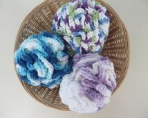 Large Crochet Bath Puff Shower Puff (Pouf) Shades of Purple/White, Shades of Blue, Primary Colours/White
