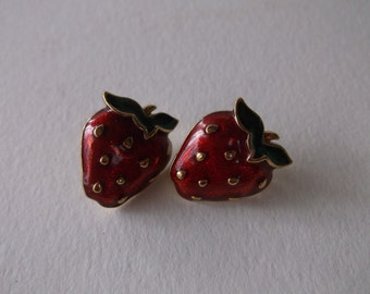 Vintage Enamel Strawberry Earrings, Pierced Post Earrings with Strawberry Fruit earrings, Retro Summer Fun!
