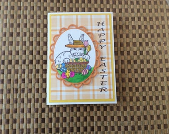 Handmade Greeting Cards: Happy Easter card with Bunny and Easter basket.