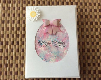 Handmade Greeting Card: Happy Easter card. Water colored