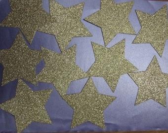 10 x 9cm Light Gold Glitter Star die cuts