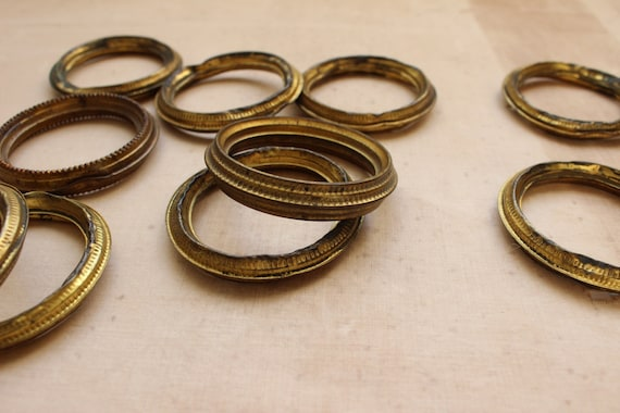 10 X French Antique Curtain Rings Vintage Hollow Metal Brass