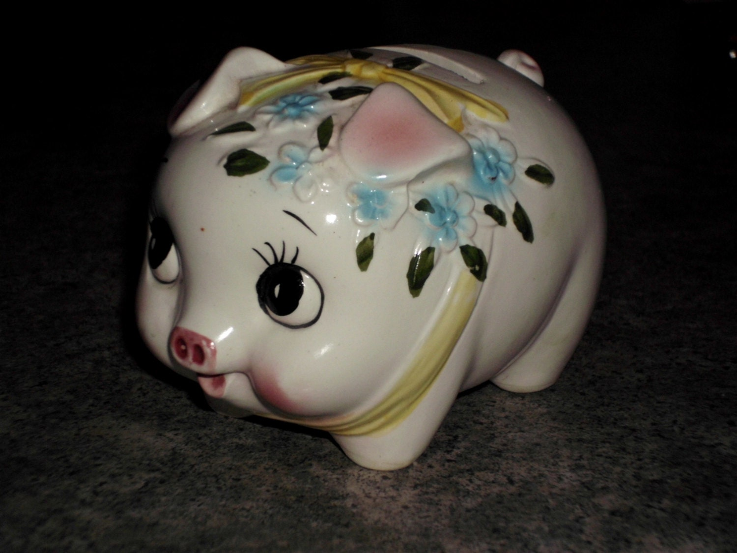 Vintage 1950s Hand Painted Ceramic Piggy Bank Old Style