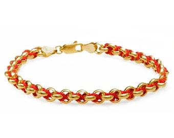 Kabbalah bracelet in 14k Gold, Red & Gold Kabbalah Bracelet, Protection Bracelet, Jewish Bracelet, Red String Bracelet, Good Luck Bracelet