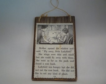 Vintage Barn Wood Ladybug Ladybird Sign