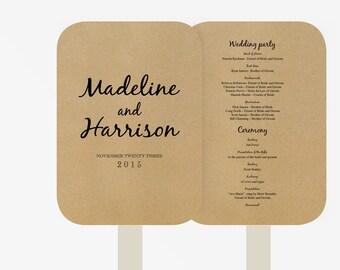 Wedding Fan Program Template | Editable Word template | Instant Download  | DIY You print | minimalistic Kraft