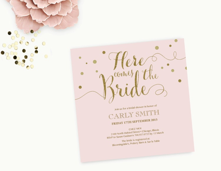Word Template Bridal Shower Invitation Editable Word By