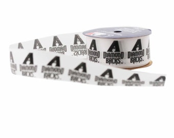 Offray MLB Arizona Diamondbacks Fabric Ribbon, 1-5/16-Inch by 12-Feet, White/Dark Purple