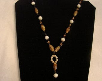 Vintage Choker Necklace With Glass Caramel And Ivory Beads On Chain Links