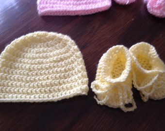 Yellow Baby Hat and Bootie Set