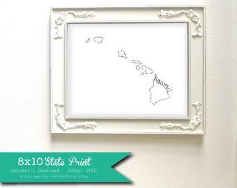 Printable Hawaii State Art Print 8x10 Digital Wall Art Gift