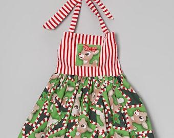 Boutique custom handmade Christmas Rudolph inspired twirl dress