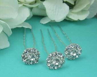 Crystal rhinestone wedding hair pin, bridal hair accessories, rhinestone hairpin, bridal hair pearl, bridal hairpins, Set of 3 214941828