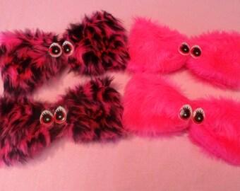 GRRR! Fuzzy FURRY pink animal fur MONSTER hair bow