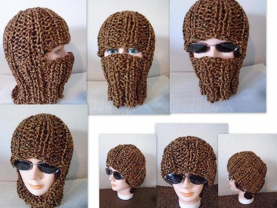 Balaclava Knitting Pattern Straight Needles : Knitting PATTERN - Knit Balaclava, Ski Hat - Beanie, Easy flat knit, 1 hour p...