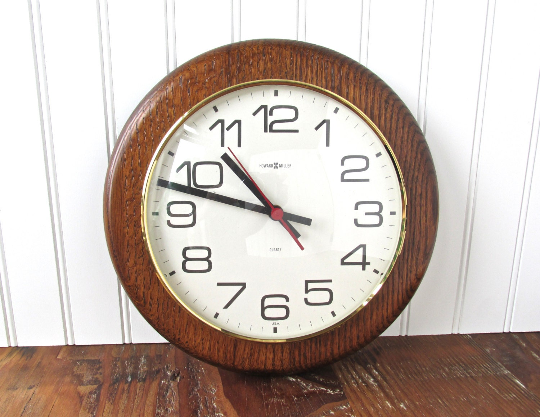 vintage howard miller wall clock 1980s oak by