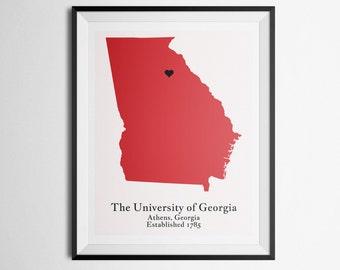 The University of Georgia UGA, Athens, Georgia Map Print
