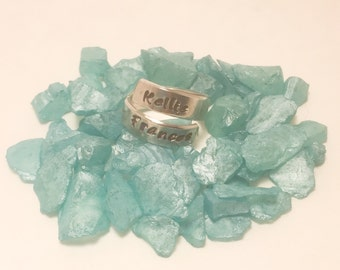 Personalized Overlap Wrap Ring - Hand Stamped