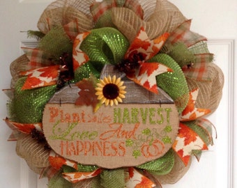 Autumn Inspirational Handmade Deco Mesh Wreath
