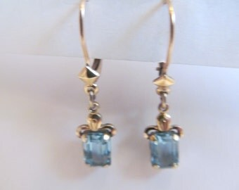 Vintage shiny  Baby blue stone  leaver back  dangling Earrings