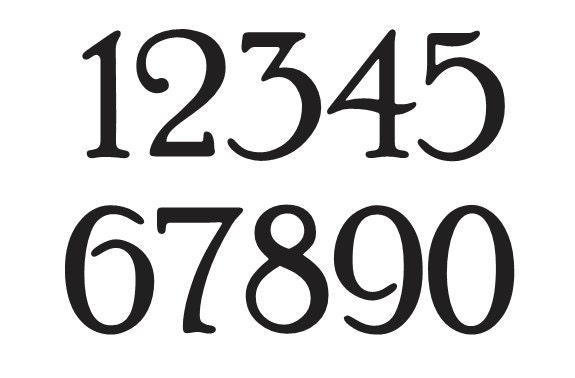 Number stencil 2 poor richard font numbers 0 9 for for Classic house number fonts
