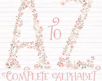 Professional Floral Alphabet Clipart & Vectors - Soft Pink Floral Monogram, Floral Alphabet Clip Art, Floral Letters, Wedding Clipart