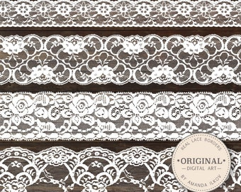 Beautiful Real Floral Lace Borders - White Lace Borders, Wedding Lace, Lace Clipart, Lace Clip Art, Seamless Lace Edges