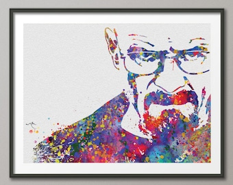 Walter White Mr White Heisenberg Breaking Bad  Watercolor Art Print Wall Art Poster Giclee Wall Decor Art Home Decor Wall Hanging No 355