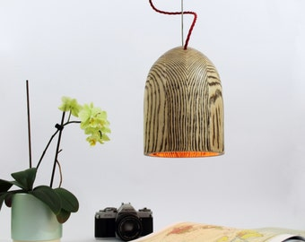 Wooden pendant lamp. Wood lamp shade.