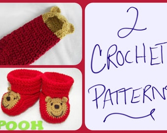 Two Crochet Patterns, Newborn Hooded Cocoon, Pod, Winnie the Pooh, 0-6 Month Baby Booties Instant Download