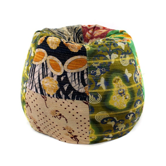 vintage kantha quilt bean bag chair bohemian pouf by. Black Bedroom Furniture Sets. Home Design Ideas