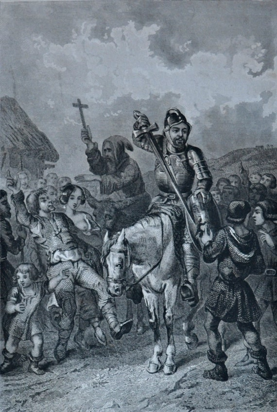 """Antique lithograph. Drouart illustration of 1851. French old print. """"Les mystères du peuple"""", Preaching in crusades. 6'2 x 9'2 inches."""