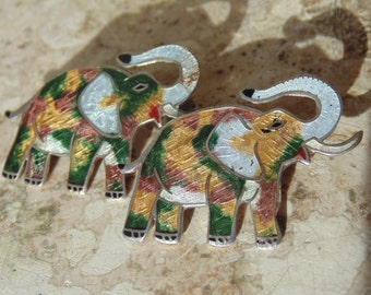Castelan ~ Vintage Sterling Silver and Enamel Pair of Elephant Brooches