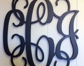 large wooden monogram 3 letters paintedcursive capital alphabet big wooden letter guest bookwedding sweetheart