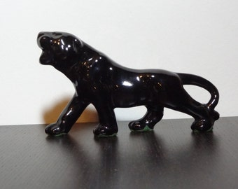 Vintage glossy black panther ceramic figurine mid century modern - Ceramic black panther statue ...