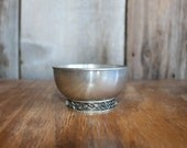 Vintage Crown and Rose Cast Pewter Small Footed Bowl with Climbing Rose & Lattice Motif Base